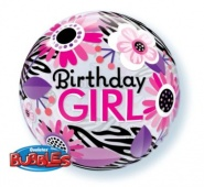 "22""/56 cm - Birthday Girl Floral Zebra Stripes  - #13738"