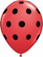 "11""/28 cm/ Big Polka Dots Red/Black - 25 szt - #29511"