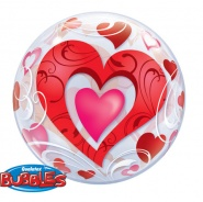 "22""/56 cm - Red Hearts & Filigree - #33909"