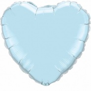 "18""/45 cm - Pearl Light Blue Heart - #99346"