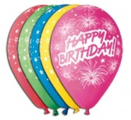"12""/30 cm/ Happy Birthday (fajerwerki) - 5 szt - GS110/P041"