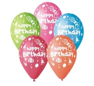 "12""/30 cm/ Happy Birthday Party - 5 szt - GS110/P097"